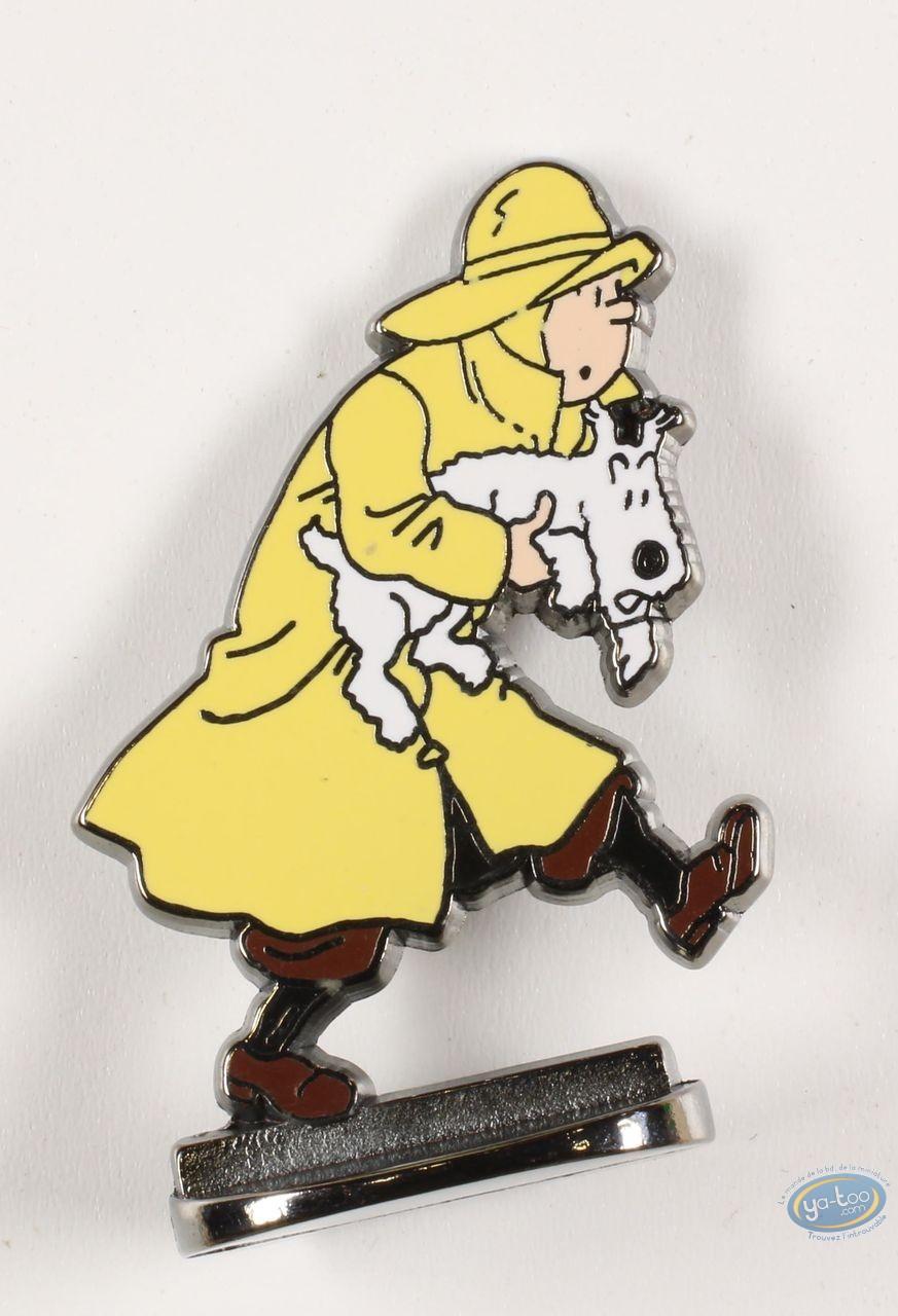 Figurine métal, Tintin : Tintin en imperméable sauve Milou (bas relief)