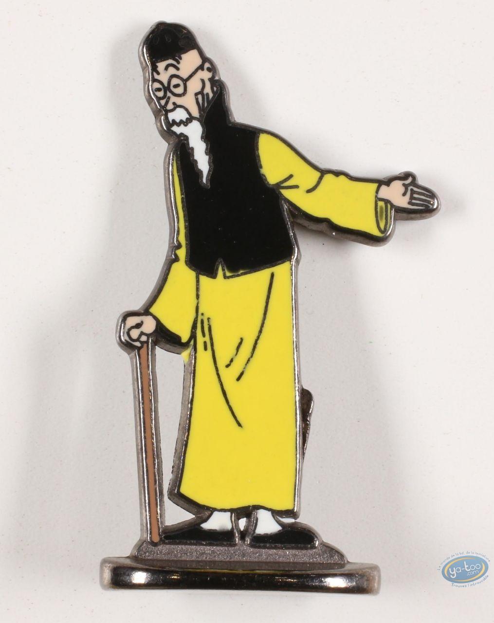 Figurine métal, Tintin : Tintin, Wang Jen-Ghiè (bas relief) + boite