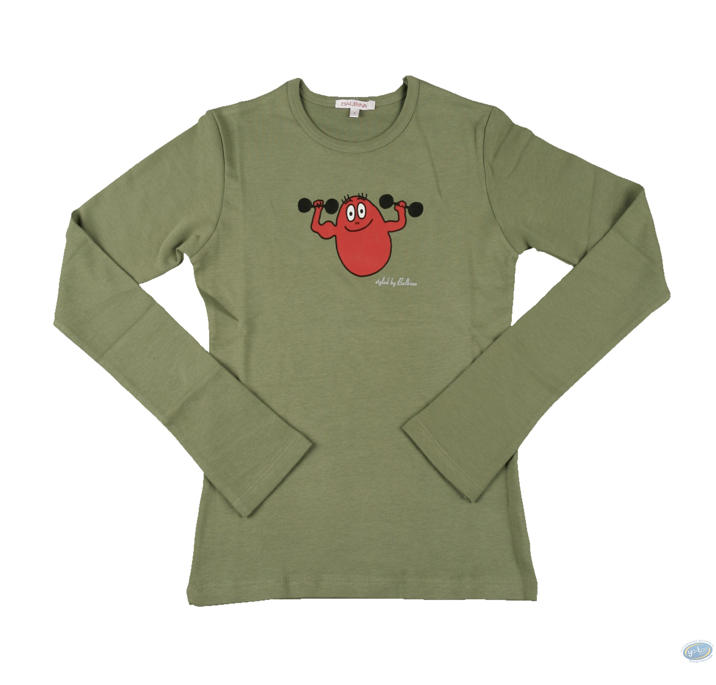 Vêtement, Barbapapa : T-shirt manches longues olive Barbapapa: taille L, haltères