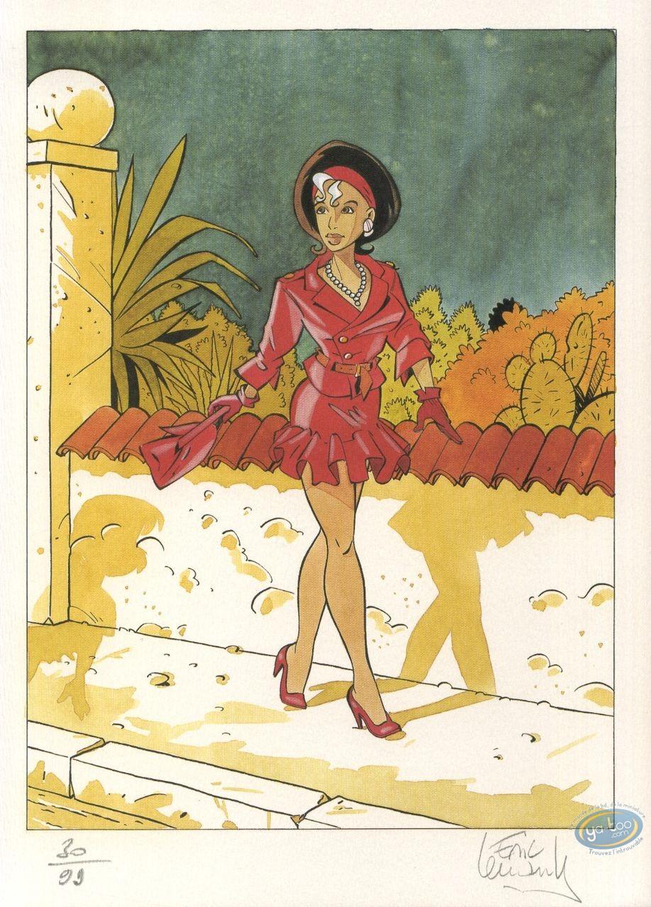 Ex-libris Offset, Fugitive (La) : Femme robe rouge