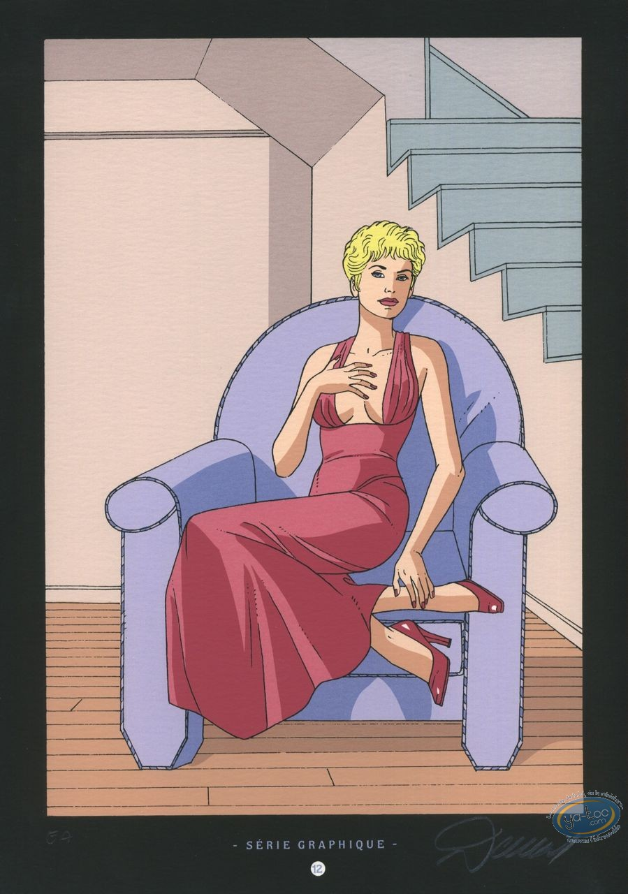 Ex-libris Sérigraphie, Jessica Blandy : Assise dans un fauteuil