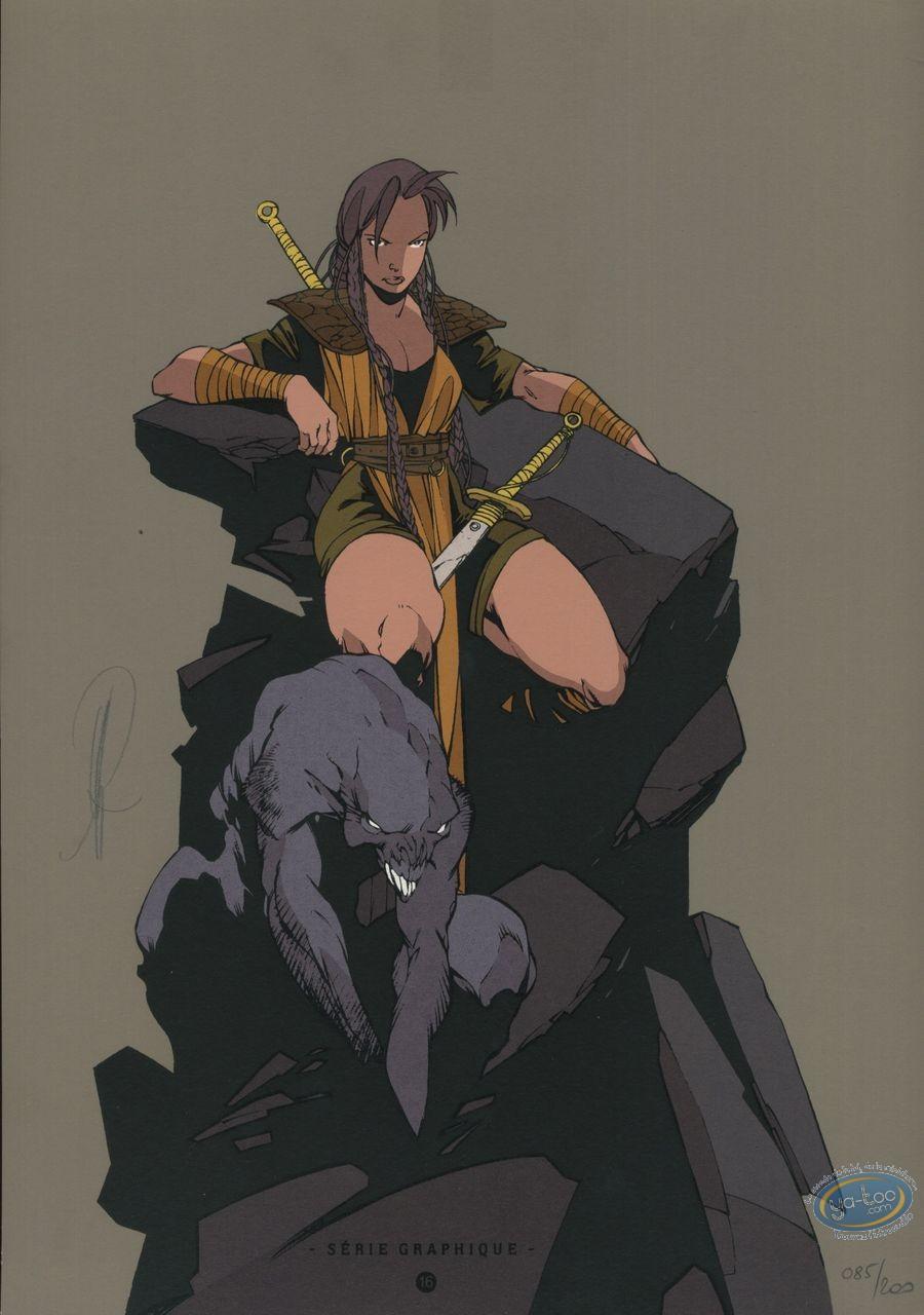 Ex-libris Sérigraphie, Geste des Chevaliers Dragons (La) : Assise sur le rocher