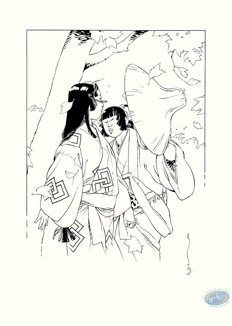 Affiche Sérigraphie, Kogaratsu : Feuilles dans le vent N&B