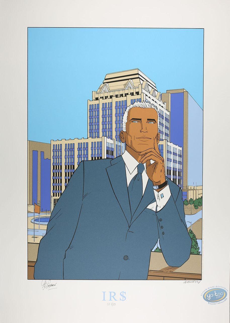 Affiche Sérigraphie, I.R.$. : Max devant un building