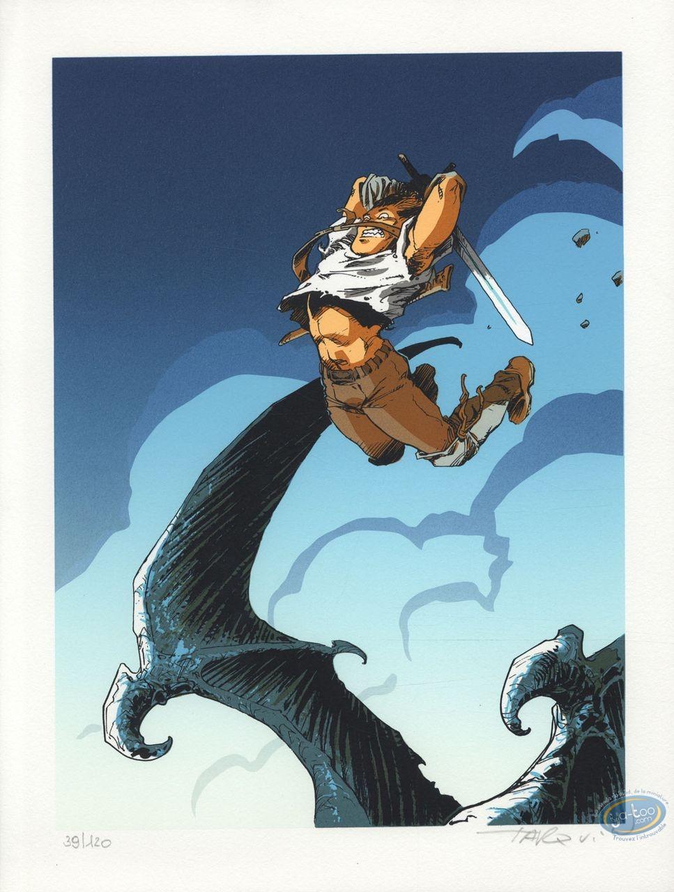 Affiche Sérigraphie, Lanfeust de Troy : Lanfeust à l'attaque (bleu)