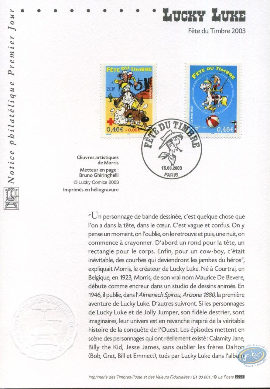 Timbre, Lucky Luke : Carte 1er jour 2 timbres, Lucky Luke