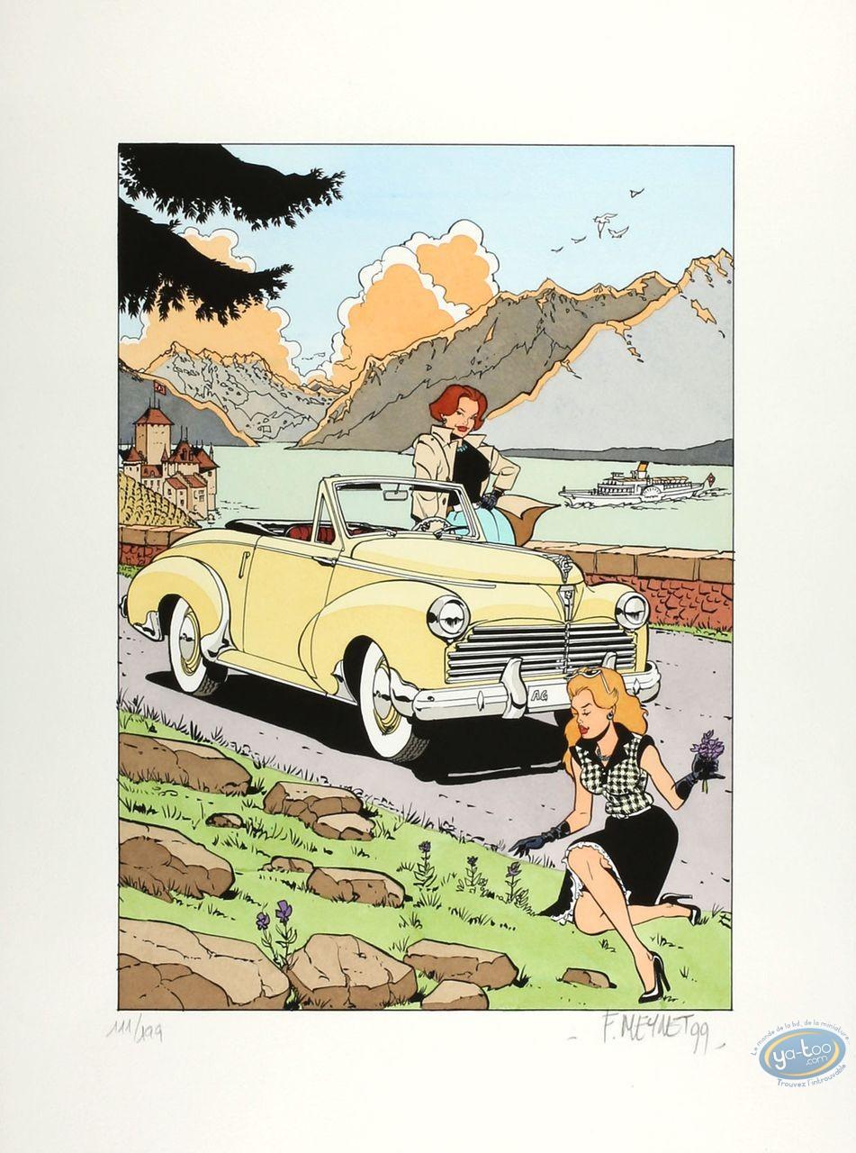 Aquarelle, Pin-Up : Meynet, Cabriolet Peugeot 202