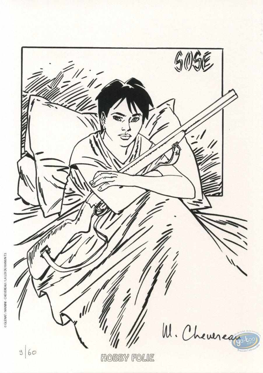Ex-libris Offset, Loi du Kanun (La) : Femme assise dans un lit avec un fusil