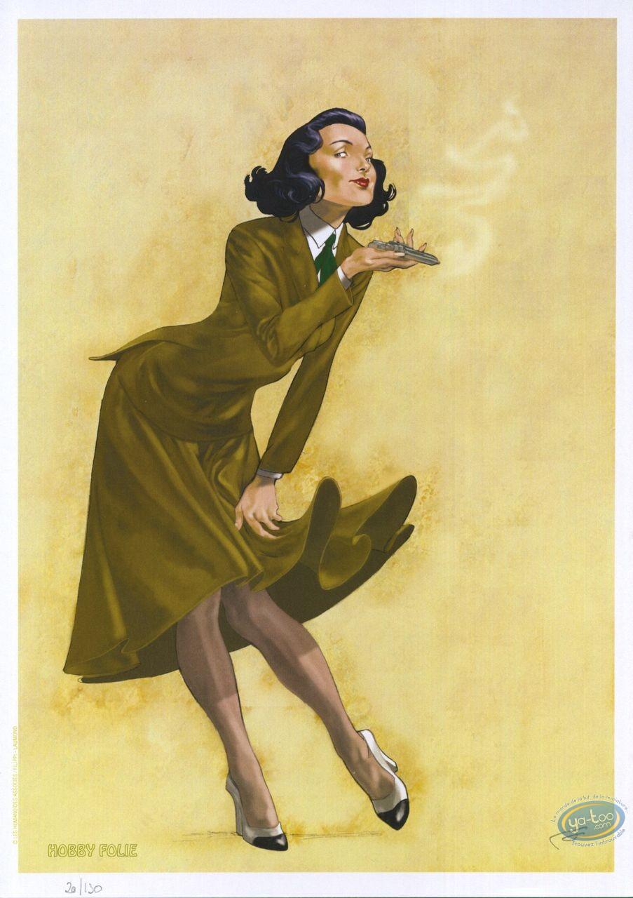 Ex-libris Offset, John Lord : Femme au pistolet