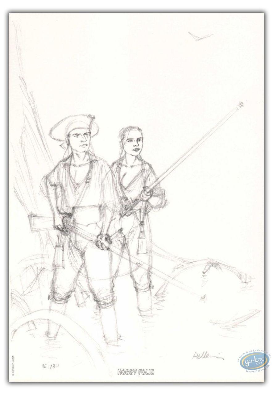 Ex-libris Offset, Epervier (L') : L'Epervier et Marion avec des fusils (crayonné)