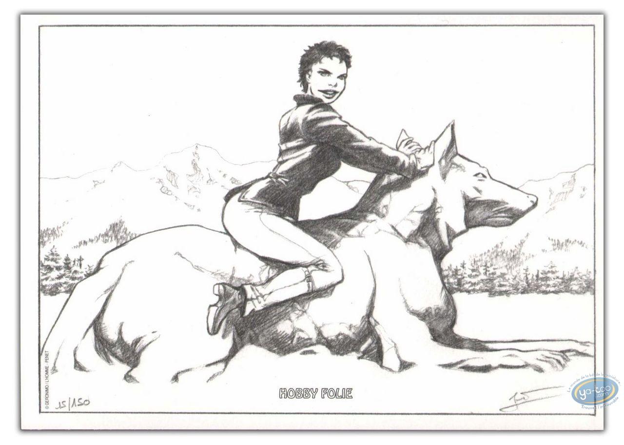 Ex-libris Offset, Marie des Loups : Marie assise sur un loup