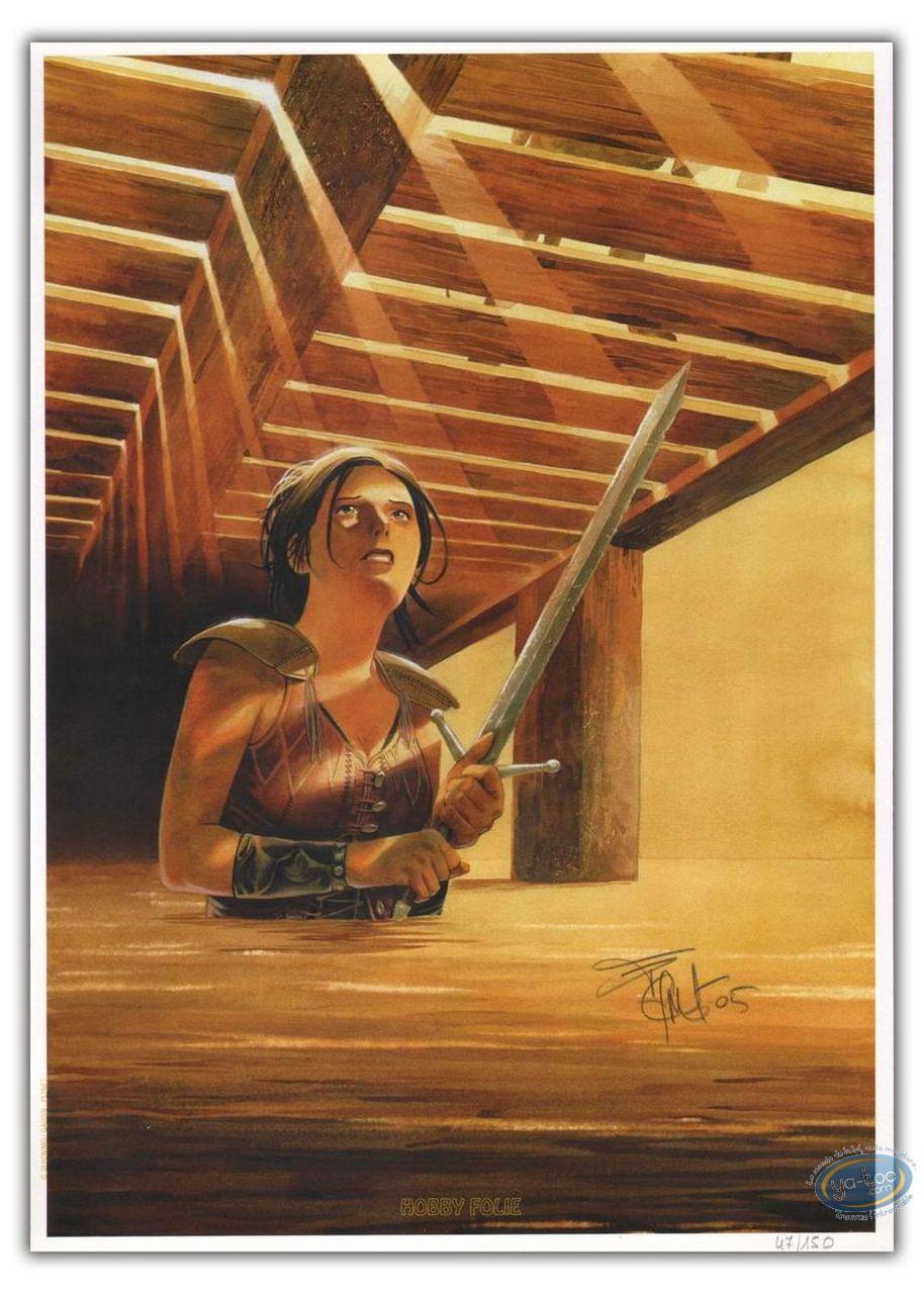 Ex-libris Offset, Feul (Le) : Valnes dans l'eau avec une épée
