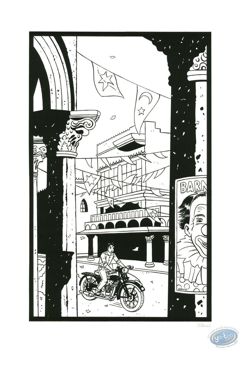Affiche Sérigraphie, Jimmy Boy : A moto (n&b)