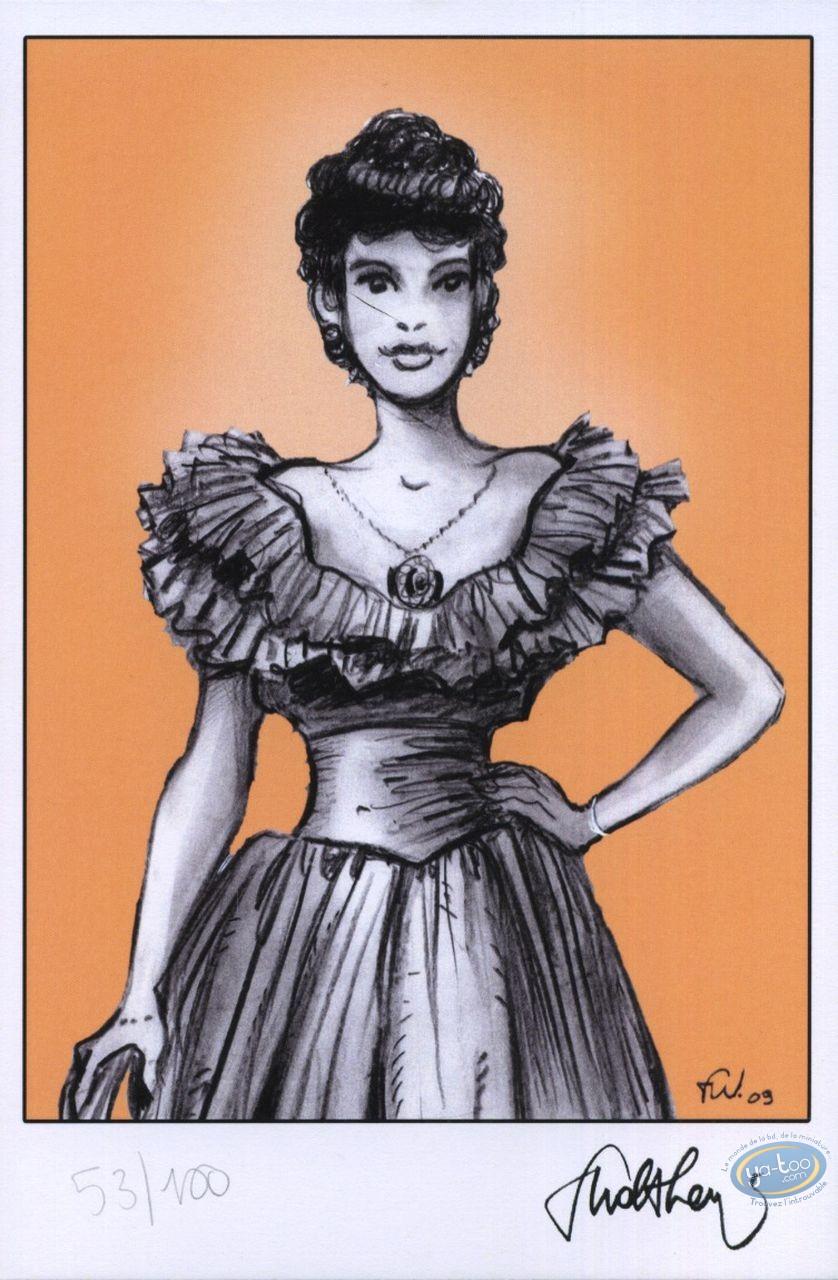 Ex-libris Offset, Pin-Up : Jeune femme 19ème siècle