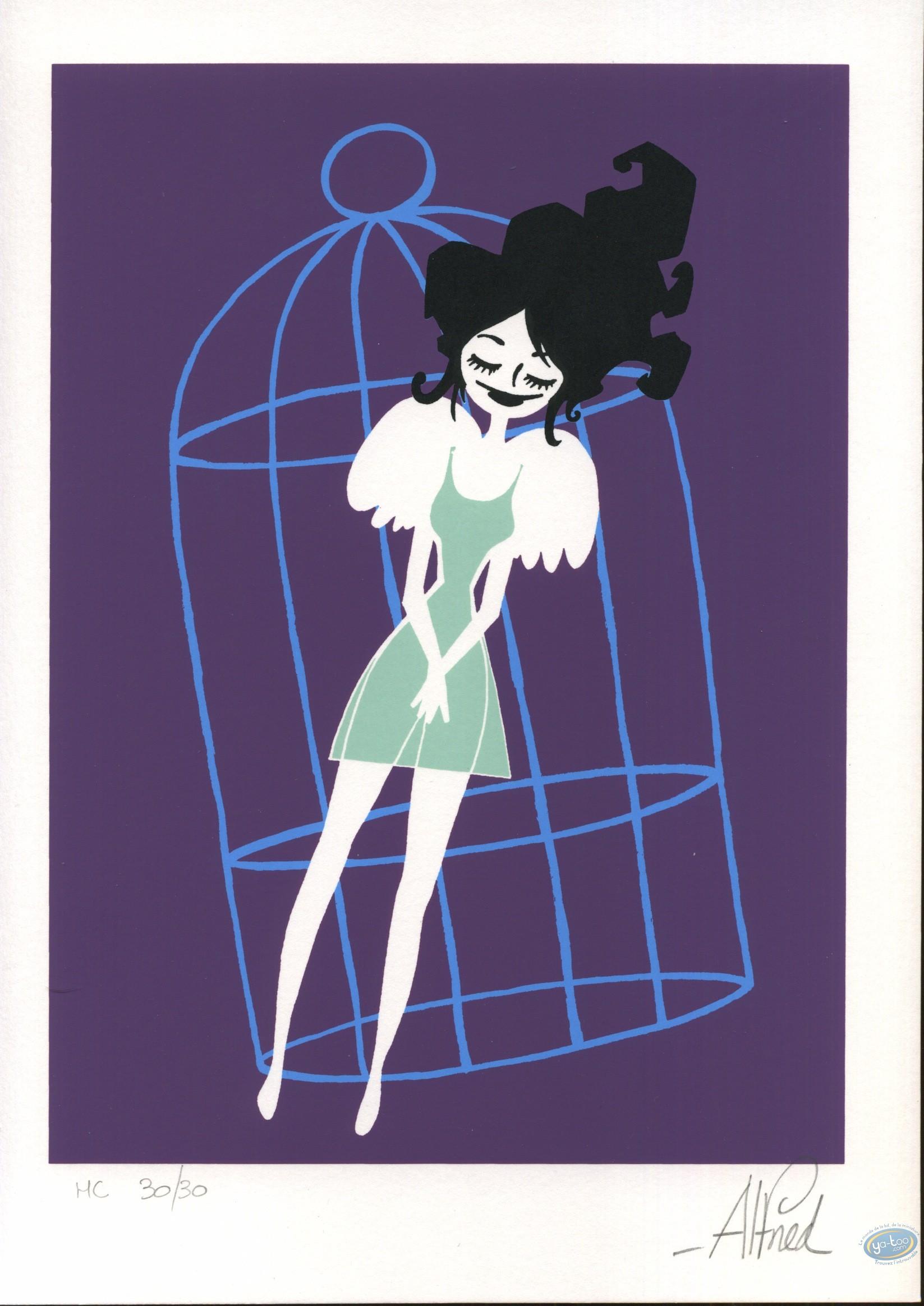 Ex-libris Sérigraphie, Abraxas : Femme-oiseau