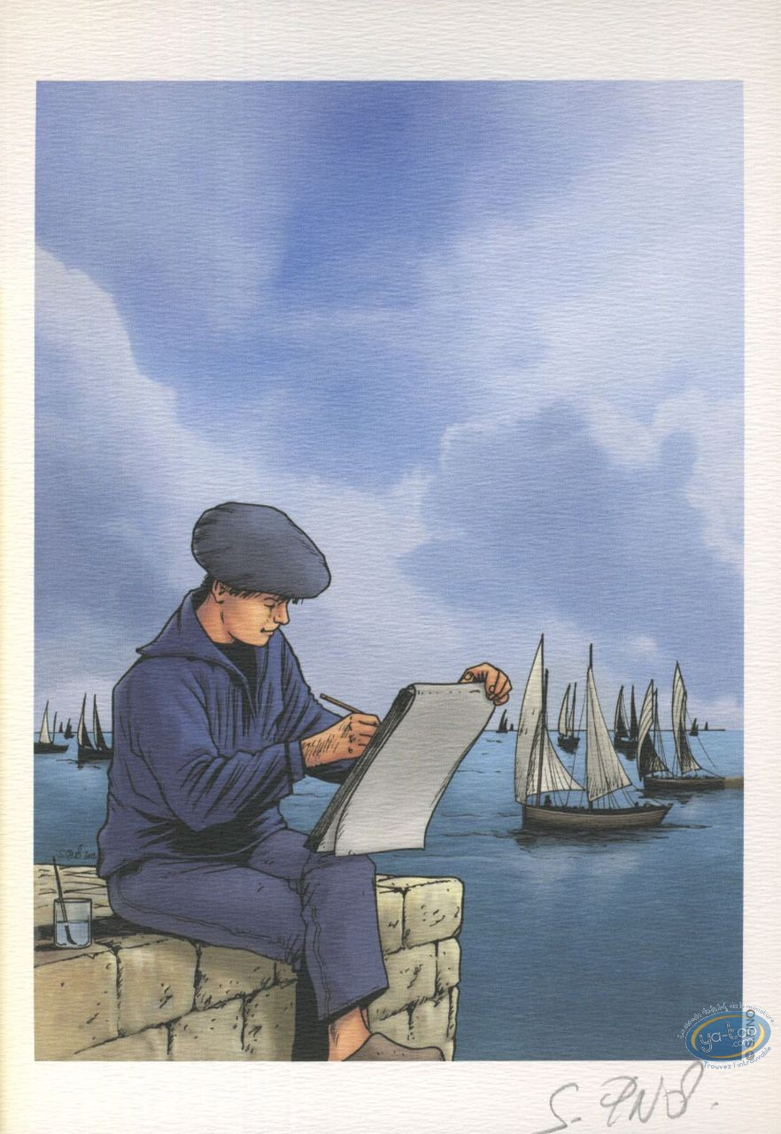 Ex-libris Offset, Chasseurs d'Ecume (Les) : Dessin en Bord de Mer