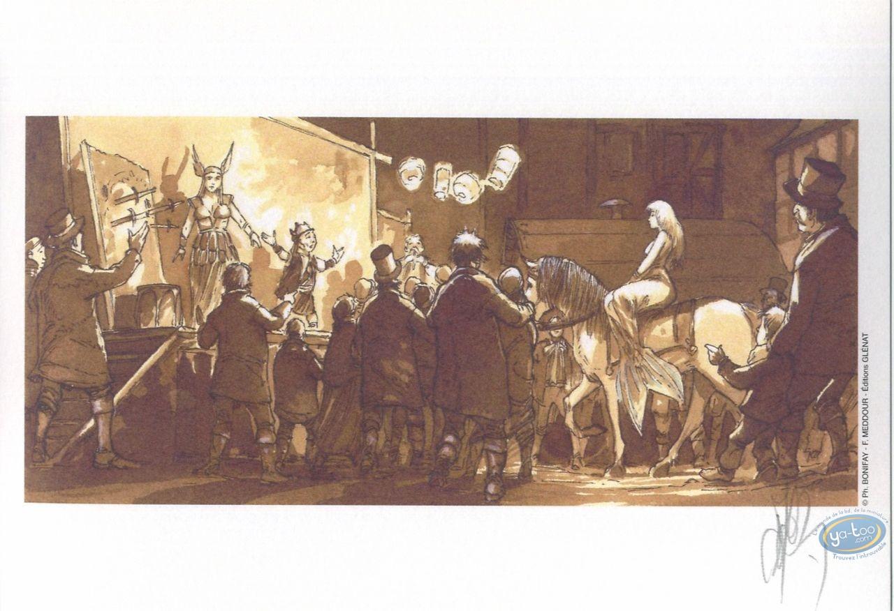 Ex-libris Offset, John Arthur Livingstone : Troupe de théatre et femme a cheval
