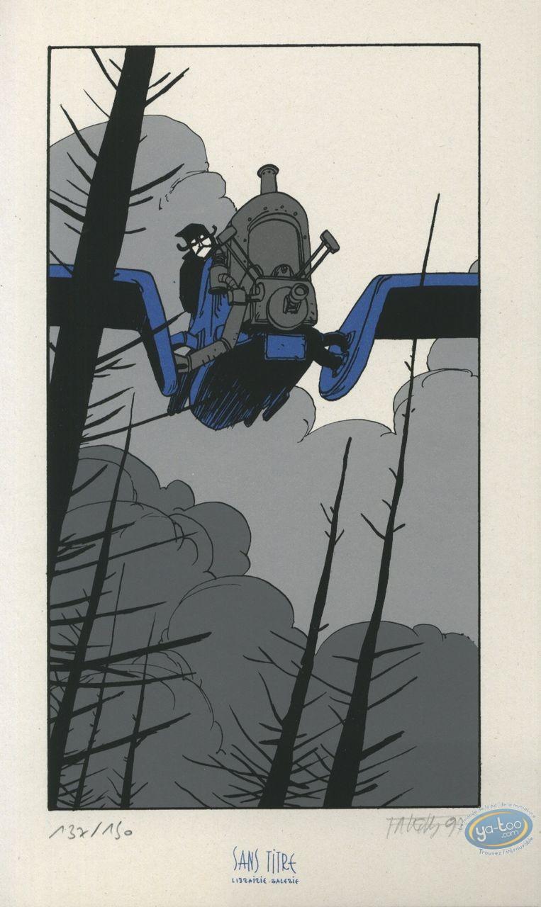 Ex-libris Sérigraphie, Fond du Monde (Le) : Aéroplane
