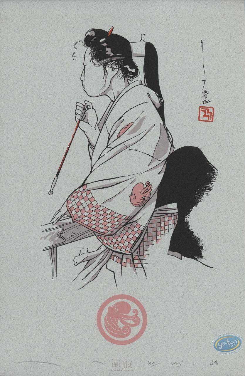 Ex-libris Sérigraphie, Tako : Femme avec une baguette