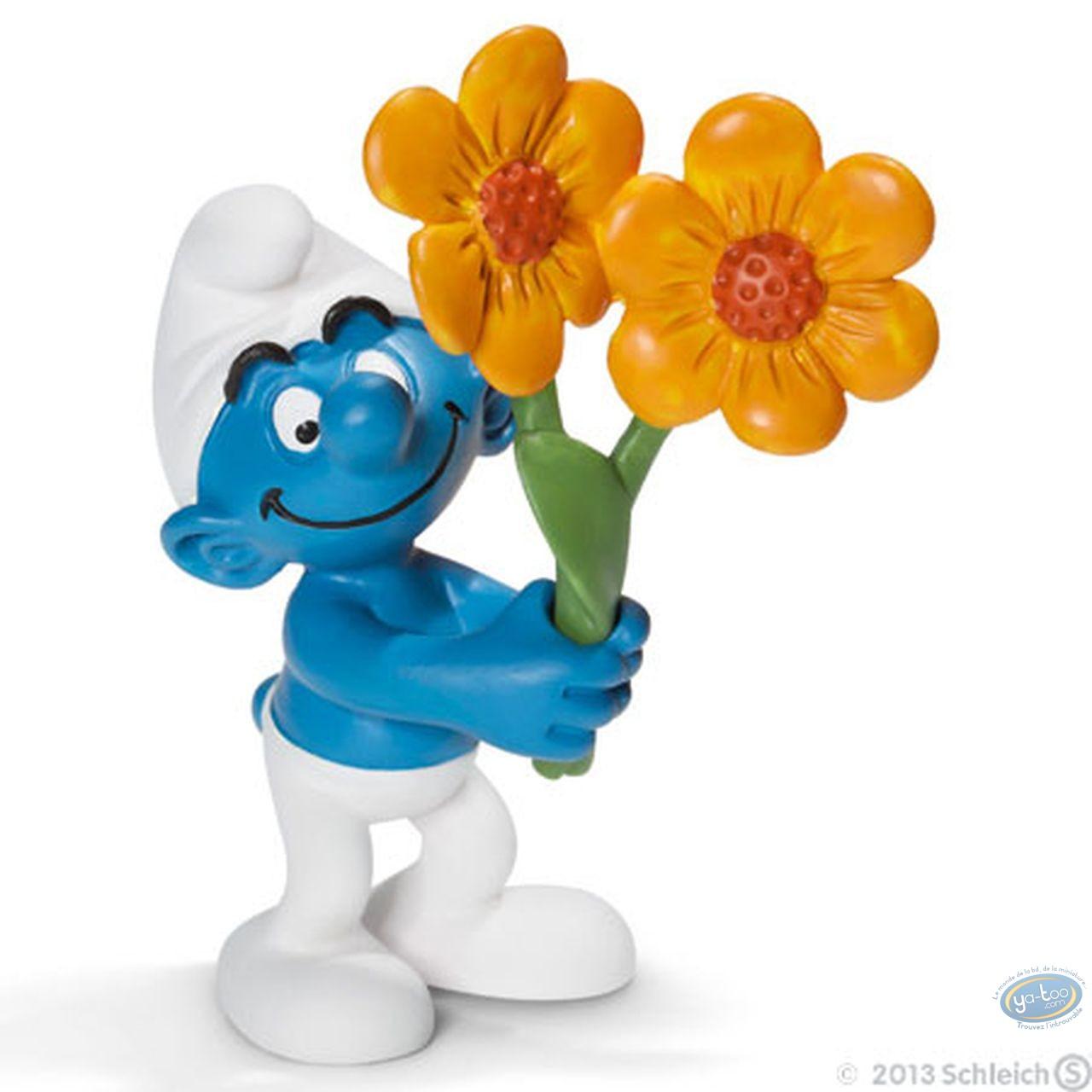 Figurine plastique, Schtroumpfs (Les) : Schtroumpf fleurs (Tournesol)