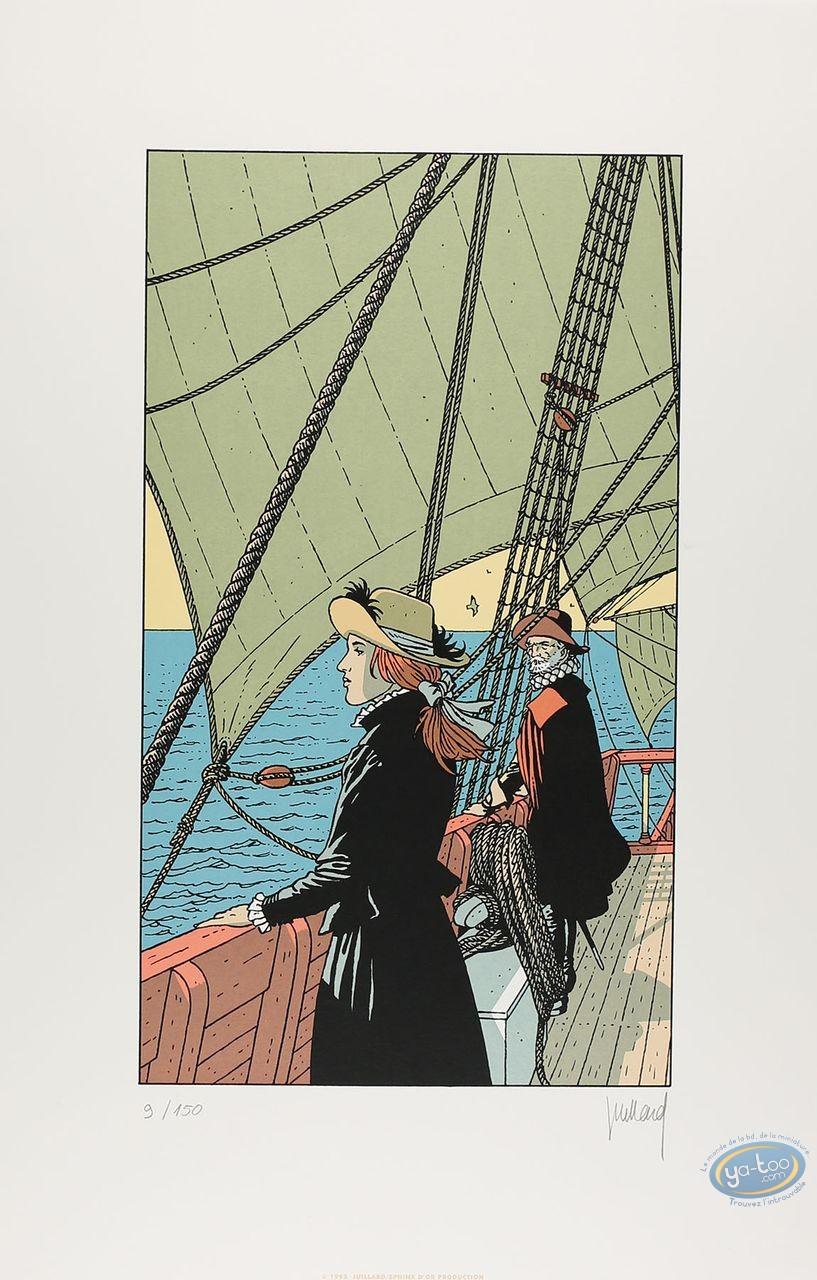 Affiche Sérigraphie, Plume aux Vents : Ariane sur un bateau
