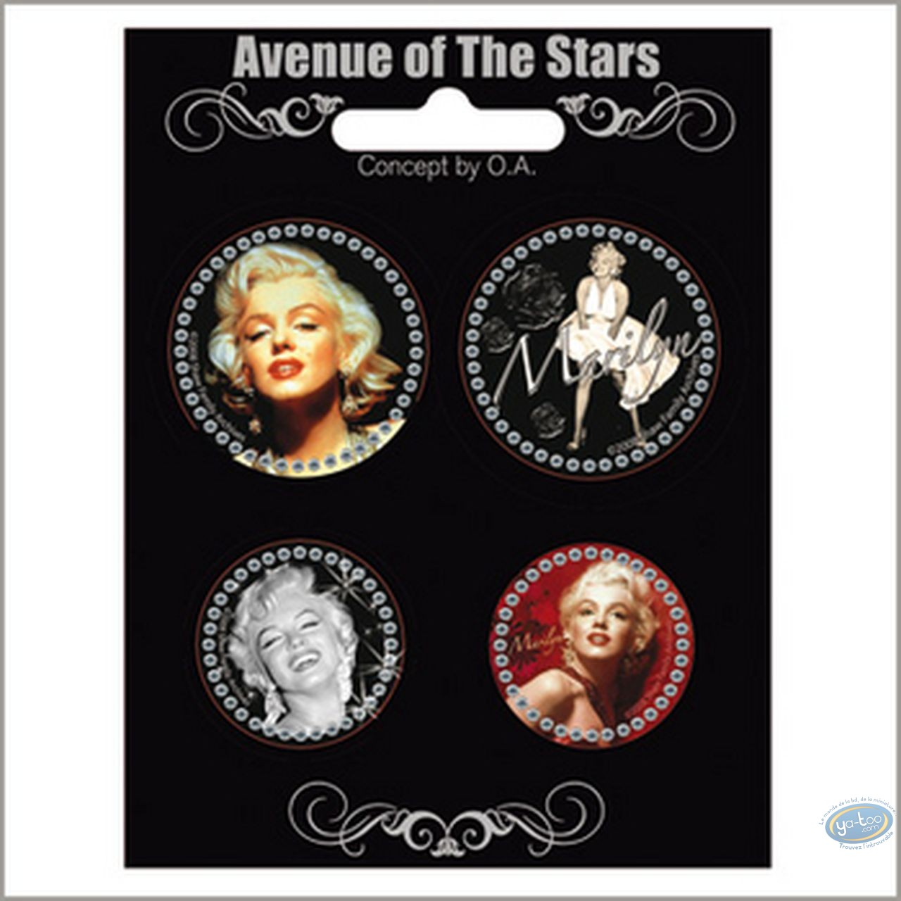 Mode et beauté, Marilyn Monroe : Set de 4 badges Marilyn Monroe