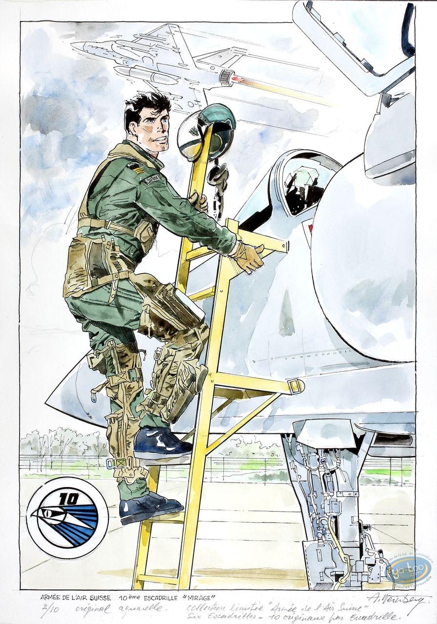 Aquarelle, Dan Cooper : Dan Cooper descendant de son Avion