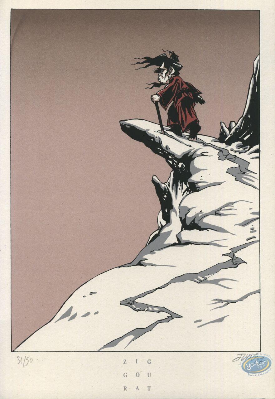 Ex-libris Sérigraphie, Jeune Fille et le Vent (La) : Vieil homme
