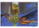 Carte postale, Rencontres : Femme nue dans draps bleus