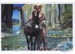 Carte postale, Rencontres : Cavalière seins nus dans la rivière