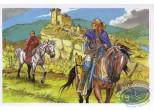 Carte postale, Rencontres : Chevaliers s'éloignant du village