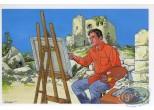 Carte postale, Rencontres : Peintre dans décor montagneux