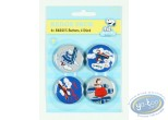 Pin's, Snoopy : 4 badges Snoopy dans la nature - fleurs (2ème version)