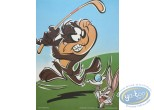 Affiche Offset, Taz : Taz golfeur 30X40 cm