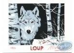 Ex-libris Sérigraphie, Loup : Loup dans la forêt
