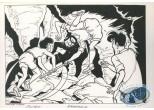 Ex-libris Offset, Jimmy Tousseul : Le combat dans la grotte (n&b)