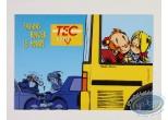 Carte postale, Petit Spirou (Le) : Carte postale publicitaire, Le Petit Spirou et Suzette dans le bus  'Faisons bouger le monde'