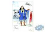Aquarelle, Dan Cooper : Dan Cooper tenant la Queue d'un Avion (veste bleue)