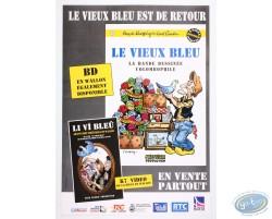 Affiche publicitaire 'Le vieux bleu, La bande dessinée colombophile' par Walthéry et Cauvin'