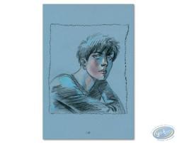 Portrait de Louise sur fond bleu
