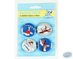 4 badges Snoopy dans la nature - fleurs