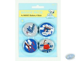4 badges Snoopy dans la nature - fleurs (2ème version)