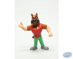 FChien joueur de basket maillot rouge pantalon vert