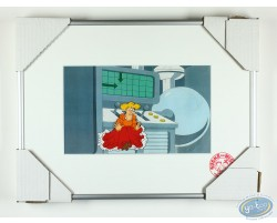 Cellulo original pour un dessin animé : Sidonie près d'une machine