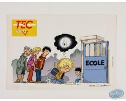 Carte postale publicitaire, Cédric sur le chemin de l'école