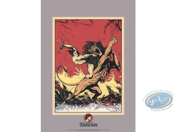 Serigraph Print, Tarzan : Edgar Rice Burroughs, Tarzan contre le lion