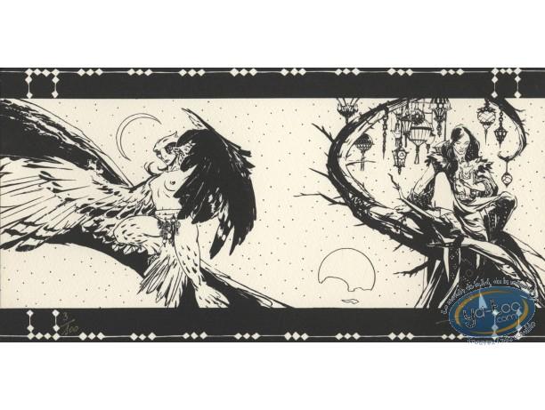 Bookplate Serigraph, Lord Twilight : Lord Twilight & Falcon Lady (b&w)