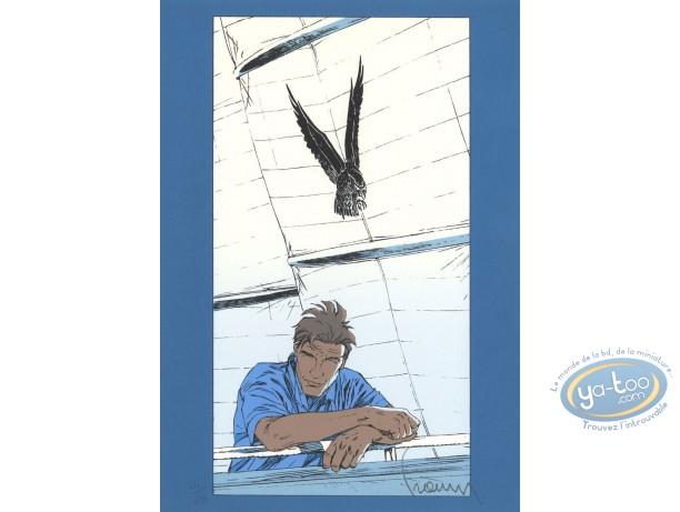 Bookplate Serigraph, Largo Winch : Largo & the bird