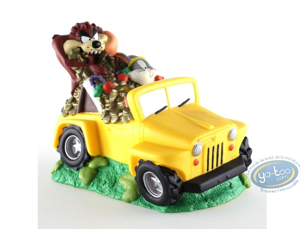 Piggy Bank, Looney Tunes (Les) : Piggy bank PVC Walt Disney Bugs Bunny and Taz yellow jeep