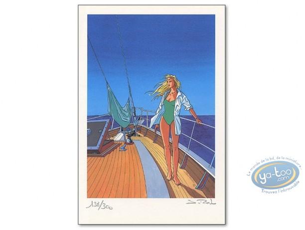 Bookplate Offset, Bleu Lézard : Helen on a Boat